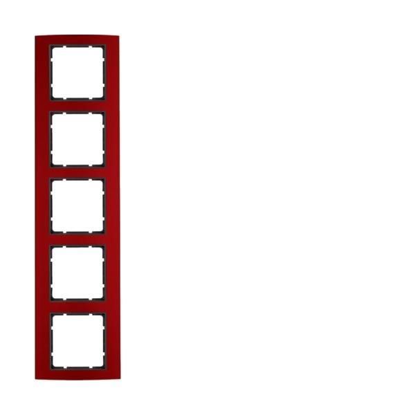 Berker 10153012 B.3 Rahmen 5-fach Alu rot/anthrazit