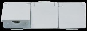 Jung AP/WD Dreifach-Steckdose 623 NA W mit Schriftfeld