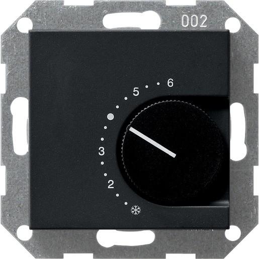 Gira 0390005 System 55 Raumtemperaturregler 230V 4A mit Öffner Schwarz matt