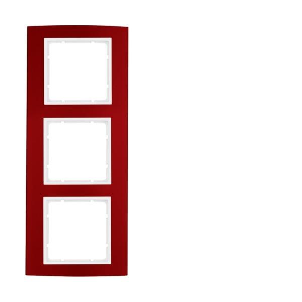Berker 10133022 B.3 Rahmen 3-fach Alu rot/polarweiß