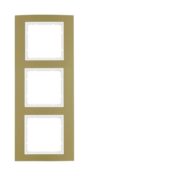 Berker 10133046 B.3 Rahmen 3-fach Alu gold/polarweiß