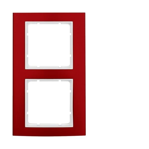 Berker 10123022 B.3 Rahmen 2-fach Alu rot/polarweiß