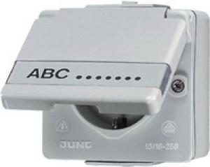 Jung AP/WD Steckdose 620 NA W mit Schriftfeld Höhe 45 mm