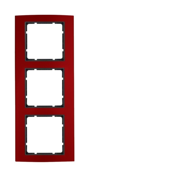 Berker 10133012 B.3 Rahmen 3-fach Alu rot/anthrazit