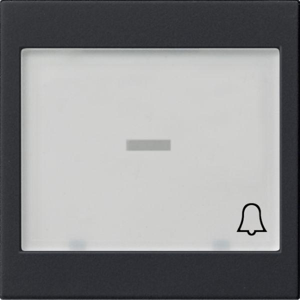 Gira 0679005 System 55 Wippe mit großem Beschriftungsfeld und Symbol Klingel Schwarz matt