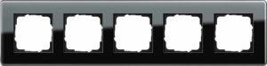 GIRA 0215505 Esprit Abdeckrahmen Schwarz Glas C 5-fach