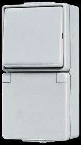 Jung AP/WD Steckdose mit Wechselschalter 676W