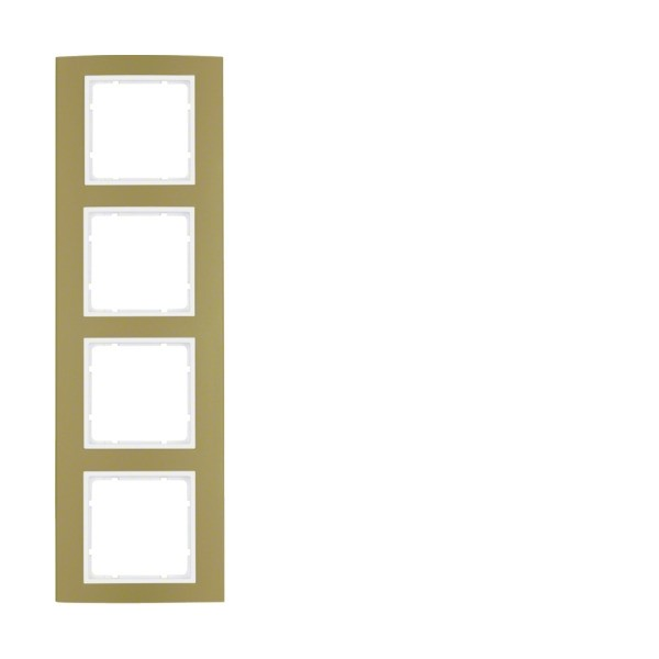 Berker 10143046 B.3 Rahmen 4-fach Alu gold/polarweiß