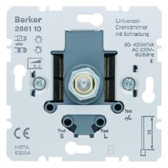 BERKER 286110 Universal-Drehdimmer mit Softrastung, mit Nebenstelleneingang