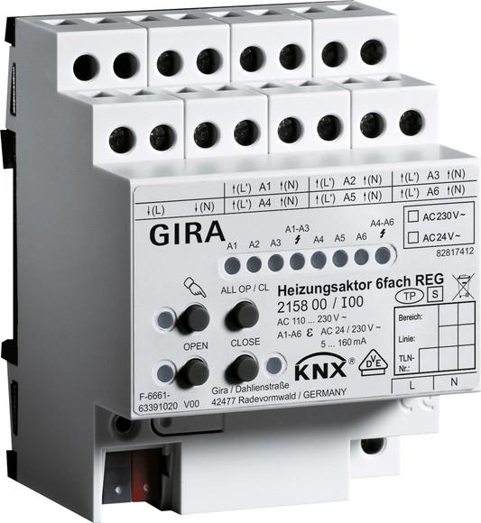Gira 215800 Heizungsaktor 6fach Plus KNX REG