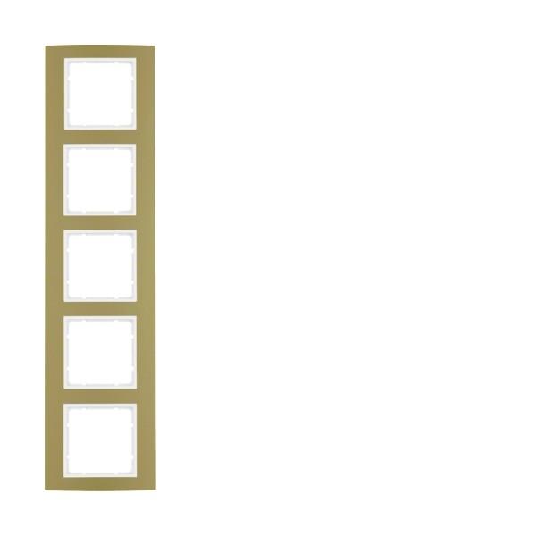 Berker 10153046 B.3 Rahmen 5-fach Alu gold/polarweiß