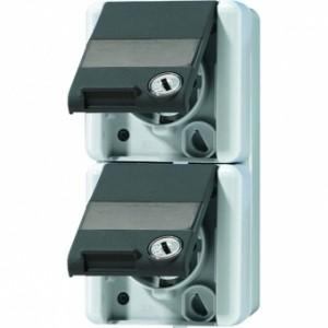 JUNG 8220NAWSL SCHUKO-Zweifach-Steckdose mit zwei Sicherheitsschlössern. für waagrecht
