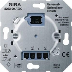 Gira 226300 Universal-Seriendimm-Einsatz (Tastdimmer) 2 x 50 - 260 W/VA.