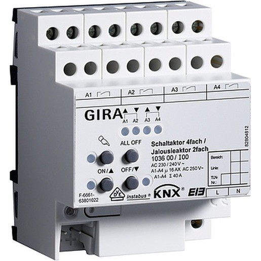 Gira 103600 Schalt-Jalousieaktor 4fach/2fach 16A KNX/EIB REG