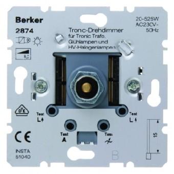BERKER 2874 Tronic-Drehdimmer mit Softrastung, mit Druck-Aus-/Wechselschalter