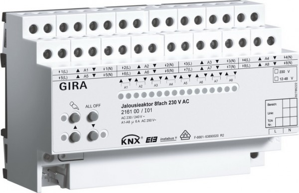 Gira 216100 Instabus Jalousieaktor 8fach 230 V AV/12-48V DC