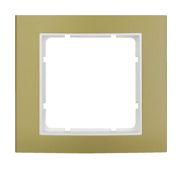 Berker 10113046 B.3 Rahmen 1-fach Alu gold/polarweiß