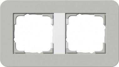 GIRA 0212412 Abdeckrahmen E3 Grau/Reinweiß 2-fach