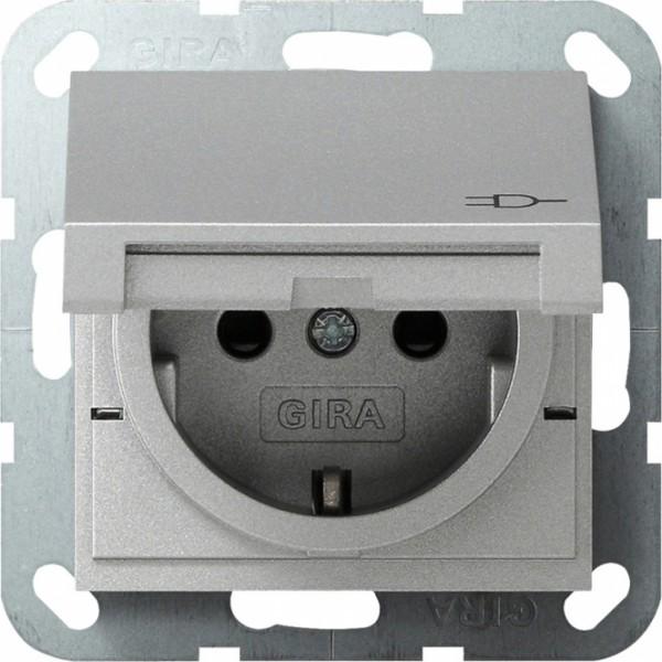 Gira 041426 Schuko Steckdose mit Klappdeckel und Kinderschutz + Symbol Alu