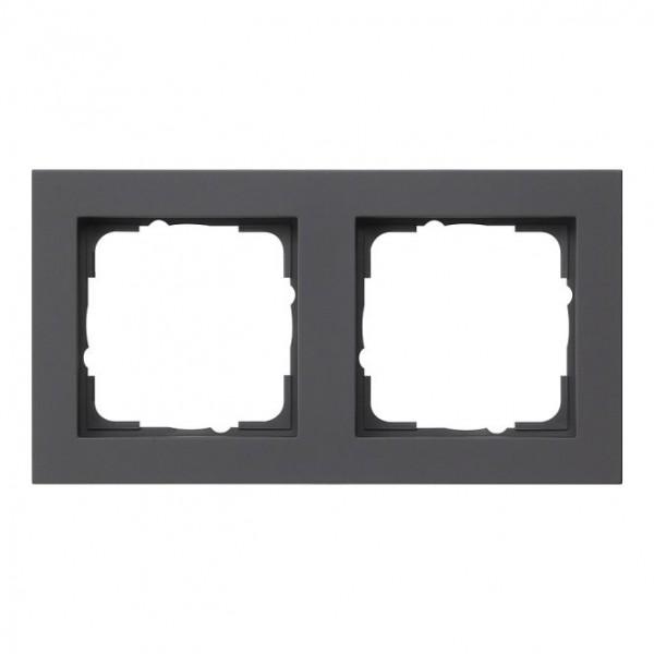 GIRA 021209 Abdeckrahmen E2 schwarz matt 2-fach