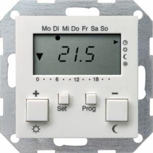 GIRA 237003 Raumtemperatur-Regler Uhr mit Kühlfunktion Reinweiß glänzend