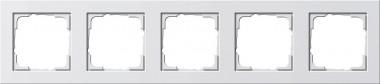 Gira 021529 Reinweiß glänzend 5 fach Rahmen E2