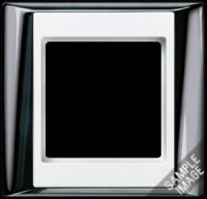 Jung Rahmen 4-fach AP 584 GCR WW A PLUS glanzchrom alpinweiß