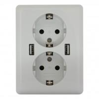 2USB easyCharge DUO - Stand- Alone- Doppel- Steckdose 250VAC / 16A mit 12 Watt USB Ladegerät