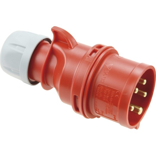 CEE-Stecker IP 44, 5-polig, 400 V, 6 h 32 A, mit Phasenwender