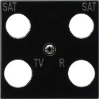 Gira 025810 Zubehör Zentralplatte 4-fach 50x50mm für Koaxial-Antennendose mit 2 zusätzlichen SAT-Ans
