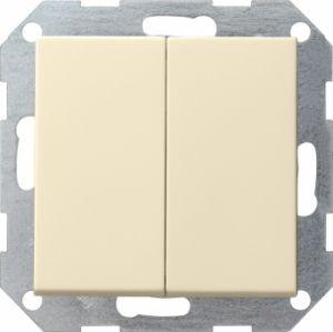 Gira 012501 Tastschalter komplett mit Serienwippen fuer Serienschalter Cremeweiß glänzend