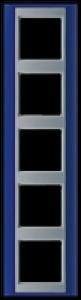 Jung Rahmen 5-fach AP585BLAL A plus blau-aluminium 93x373mm