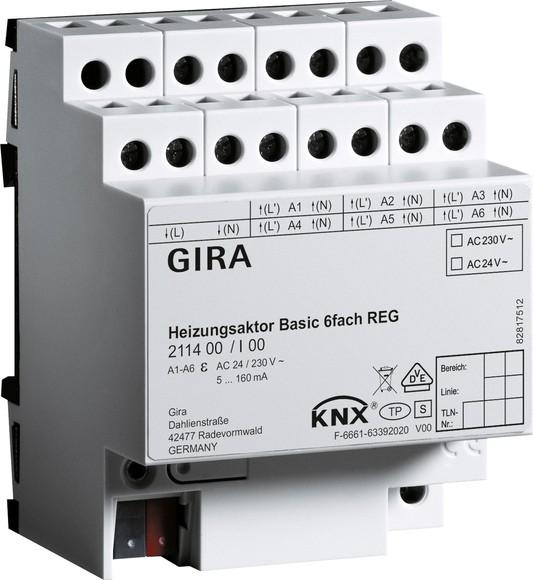Gira 211400 Heizungsaktor 6fach Basic KNX REG