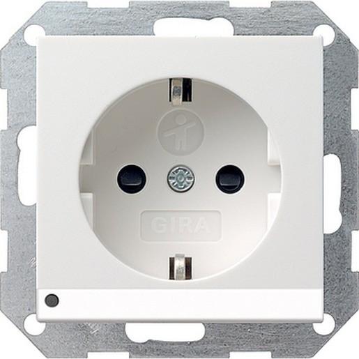GIRA 117027 SCHUKO-Steckdose 16 A 250 V~ mit LED-Orientierungsleuchte Reinweiß seidenmatt