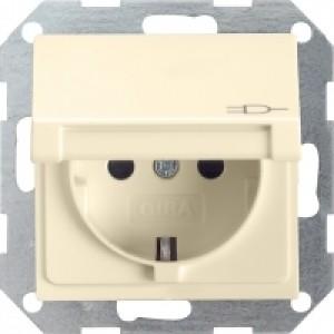 Gira 045401 Schuko Steckdose mit Klappdeckel cremeweiß glänzend