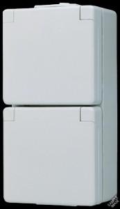 Jung AP/WD Doppel-Steckdose 622 NA WW waagerecht mit Schriftfeld