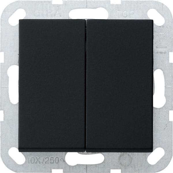 Gira 0128005 System 55 Doppelwechsel Tastschalter mit Wippen Schwarz matt