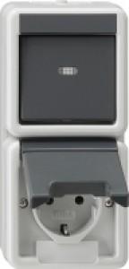 Gira 017630 IP44 Kombination Universal Aus-Wechselschalter+Steckdose
