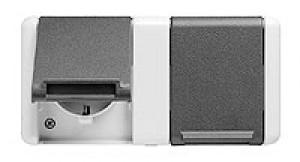 JUNG 8220W SCHUKO-Zweifach-Steckdose für waagerechte Montage