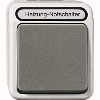 Merten MEG3448-8029 Heizungs-Notschalter, Aus/Wechsel, lichtgrau/dunkelgrau, Merten Aquastar IP44