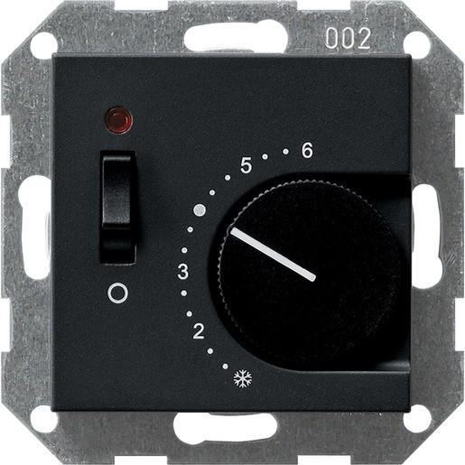 Gira 0392005 System 55 Raumtemperaturregler 230V 4A mit Öffner Ausschalter und Kontrolllicht Schwarz
