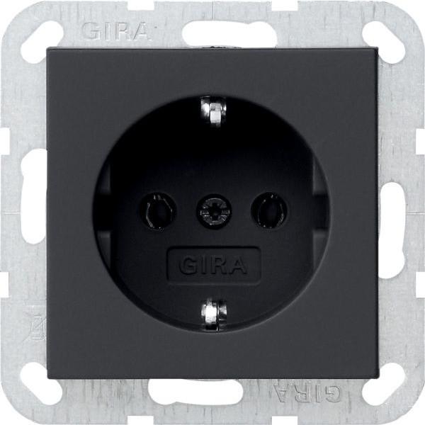Gira 0188005 System 55 Schuko-Steckdose Schwarz matt