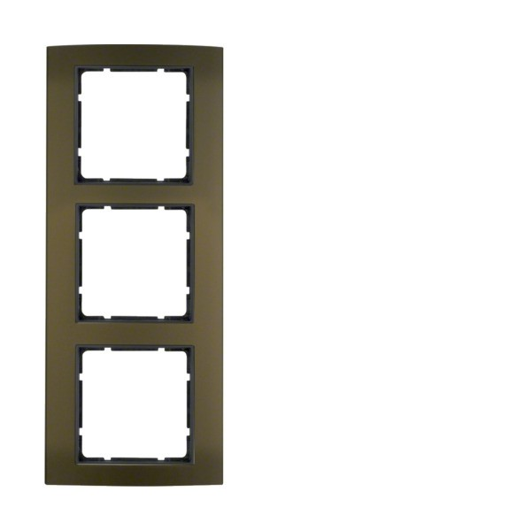 Berker 10133001 B.3 Rahmen 3-fach Alu braun/anthrazit