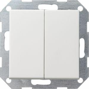 Gira 012803 Tastschalter komplett mit Se rienwippe fuer Wechsel Wechselschalter Reinweiss glänzend
