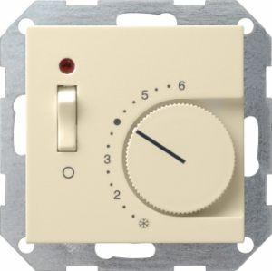 Gira 039201 Raumtemperatur Regler komplett mit Öffner und Kontrolllampe. Cremeweiß glänzend