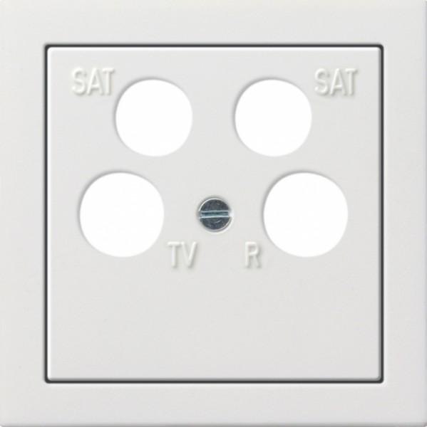 GIRA 0259112 Zentralplatte (50 x 50 mm) für Koaxial-Antennensteckdose 4fach Reinweiß glänzend
