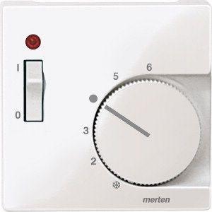 MERTEN 534819 Zentralplatte für Raumtemperaturregler mit Schalter Polarweiß, glänzend