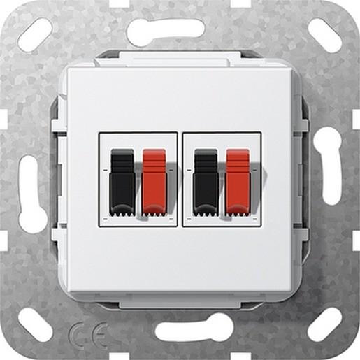 GIRA 569303 Einsatz Lautsprecher-Anschluss 2fach Reinweiß glänzend