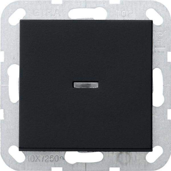 Gira 0136005 System 55 Tast-Kontrollschalter mit Wippe Universal-Aus-Wechselschalter Schwarz matt