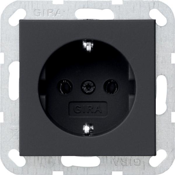 gira 0188005 system 55 schuko steckdose schwarz matt. Black Bedroom Furniture Sets. Home Design Ideas